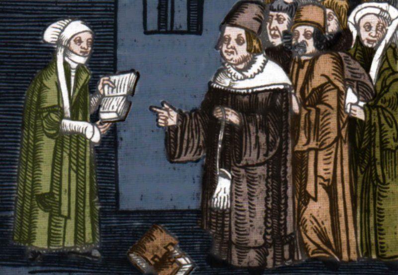Argula von Grumbach podczas objaśniania Pisma Świętego (koloryzacja: RK).