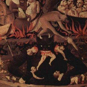 Diabeł z obrazu ołtarzowego pędzla Fra Angelica. Zapewne podobne wyobrażenie mieli krakowianie szturmujący szpital przy ul. Kopernika.