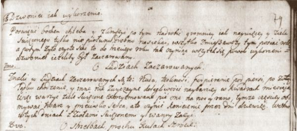 """Fragment strony z """"O ludziach zaczarowanych"""" - kodeksu należącego do konwentu karmelitów bosych w Wilnie (XVIII w.)."""