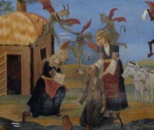 Przestrzegające przed czarami malowidło ścienne z Bułgarii - także tam długo utrzymywała się tradycja magiczna