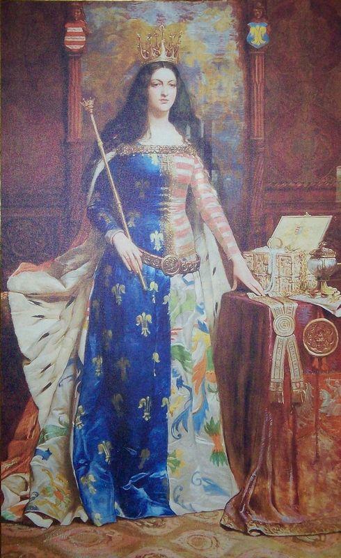 Królowa Jadwiga. W tym przypadku z berłem, a nie toporem (obraz Antoniego Piotrowskiego, domena publiczna).