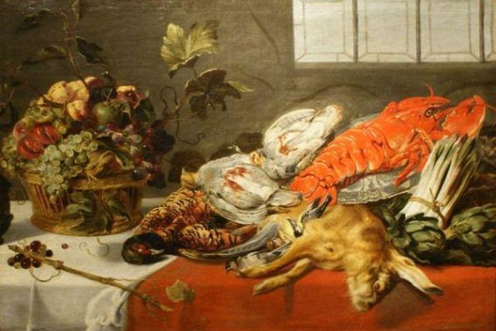 """A z tych produktów można było przygotować dla księżnej Aleksandry drobną przekąskę... (obraz Fransa Snydersa """"Martwa natura z homarem"""")."""