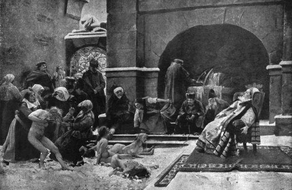 Elżbieta Batory i przyprowadzone jej dziewice. Obraz Istvana Csoka z 1895 roku.