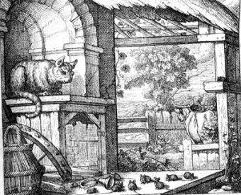 Kot na piecu czy kot do pieca? XVII-wieczna rycina.
