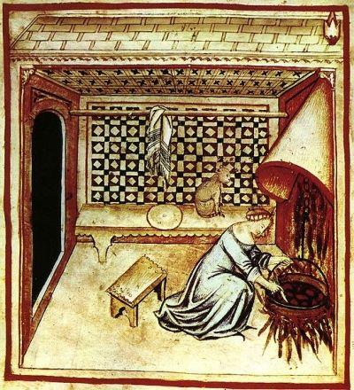 Czy ten kiuciuś jest tu przypadkiem? A może gospodyni właśnie gotuje wodę... na kota? Miniatura z XIV wieku.