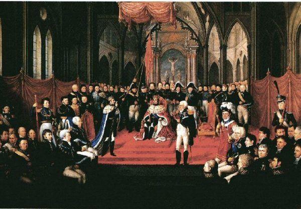 Uroczysta koronacja Jeana Baptiste'a Bernadotte'a na króla Szwecji i Norwegii. Obraz autorstwa Jacoba Muncha.