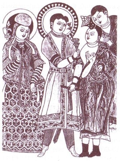 Fresk przedstawiający tocharyjskiego króla Kuczę. Ilustracja z książki: A. Kajdańska, E. Kajdański, Jedwab. Szlakami dżonek i karawan, Książka i Wiedza 2007.