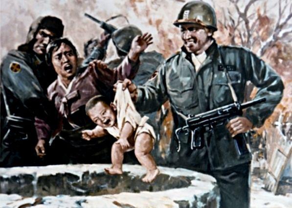 Według północnokoreańskiej propagandy dzieci miały być szczególnie narażone na bestialstwo Amerykanów. Na ilustracji jeden z północnokoreańskich plakatów propagandowych.