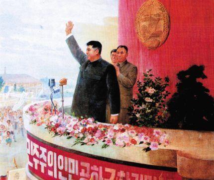 Kim Ir Sen pozdrawia rozradowane tłumy szalejących ze szczęścia Koreańczyków...
