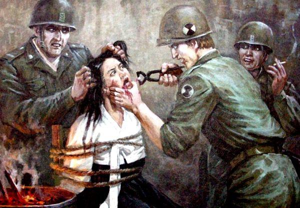 Jankescy żołnierze torturują bezbronną kobietę. Taką wizją historii karmione jest północnokoreańskie społeczeństwo.