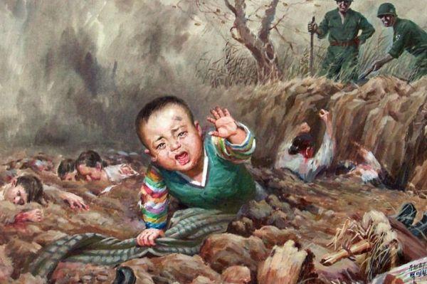 Jankescy zbrodniarze w akcji. Kolejny przykład północnokoreańskiej propagandy.