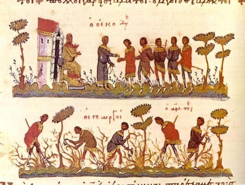 Aby mieć co jeść, trzeba najpierw pracy na roli. Tu pracownicy winnicy w przedstawieniu z XI wieku (źródło: domena publiczna).
