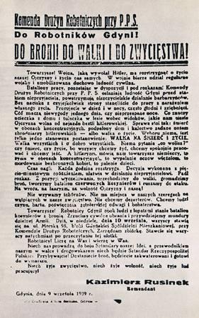 Odezwa PPS w Gdyni wzywająca robotników do wstępowania w szeregi kosynierów.