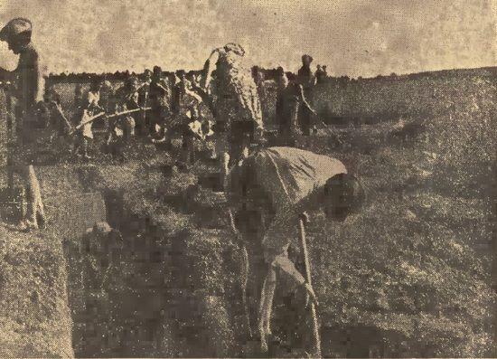 """Krakowianki pracujące przy budowie niemieckich umocnień. Zdjęcie opublikowane w """"Gońcu Krakowskim"""" z 15 sierpnia 1944 roku (źródło: domena publiczna)."""
