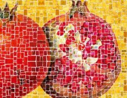 "Bizantyjska... mozaika kulinarna (fragment ilustracji z okładki książki ""Tastes of Byzantium"" Andrew Dalby'ego."