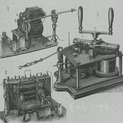 """Przyrządy do ożywiania zmarłych w całej okazałości (""""Tygodnik Illustrowany"""", nr 28/1900)."""
