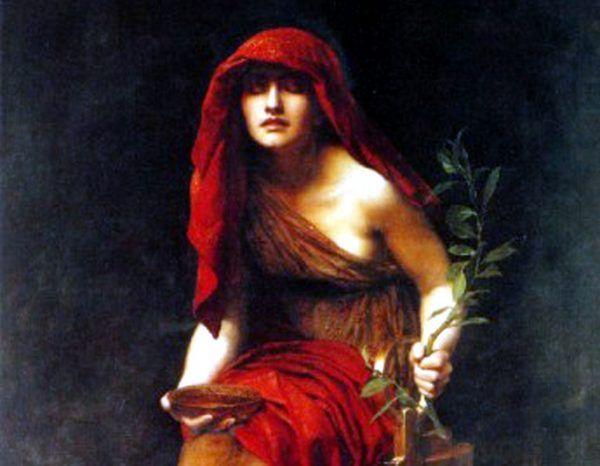 Wyroki Pytii zawsze trudno było zinterpretować, ale Bizasowi udała się ta sztuka. Fragment obrazu Johna Colliera z 1891 roku (źródło: domena publiczna).