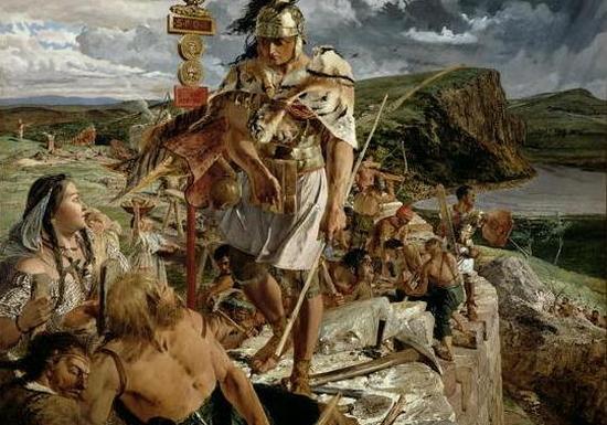 Piktowie wzbudzali w Rzymianach taki strach, że cesarz Hadriana rozkazał budowę blisko 120-lilometrowego muru, który odgrodziłby wojownicze plemię od podbitej Brytanii. Na ilustracji obraz Johna Claytona przedstawiający budowę Wału Hadriana (źródło: domena publiczna).