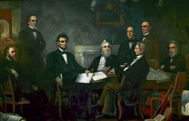 Abraham Lincoln wraz z członkami swojego gabinetu w 1864 roku. Wiele wskazuje na to, że już wtedy popadał w wywołane kiłą szaleństwo.