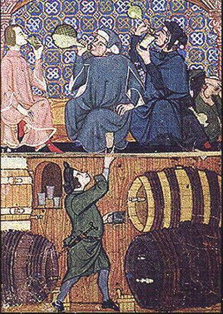 Pijaństwo - największa zmora średniowiecznych studentów.