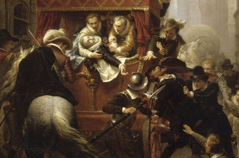 Zamach na Henryka IV na obrazie Charlesa-Gustave'a Houseza (źródło: domena publiczna).