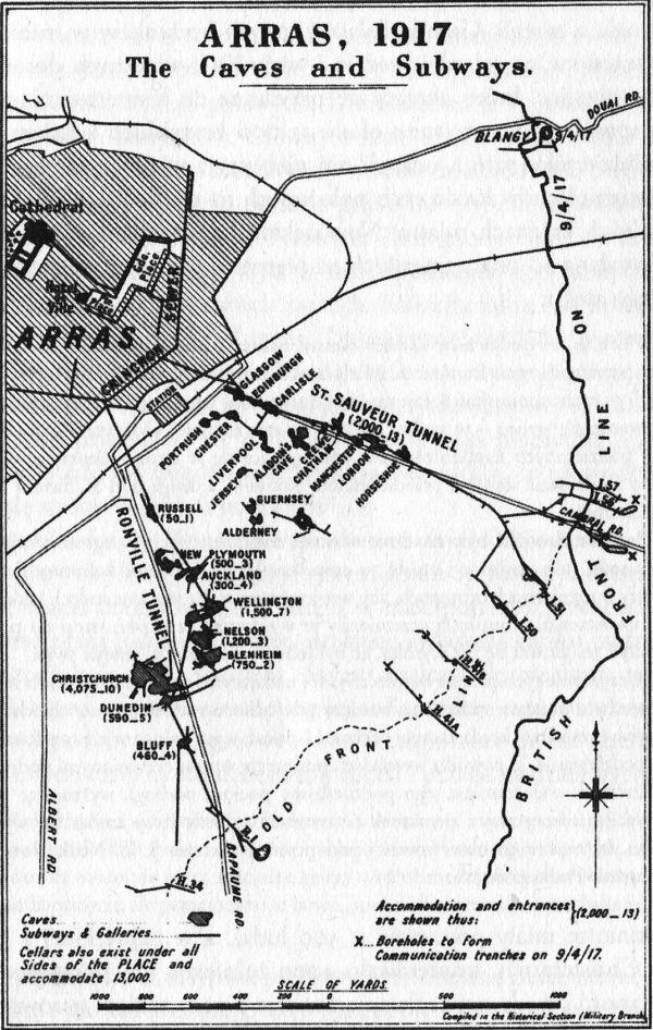 Sieć tuneli i jaskiń na froncie w pobliżu Arras