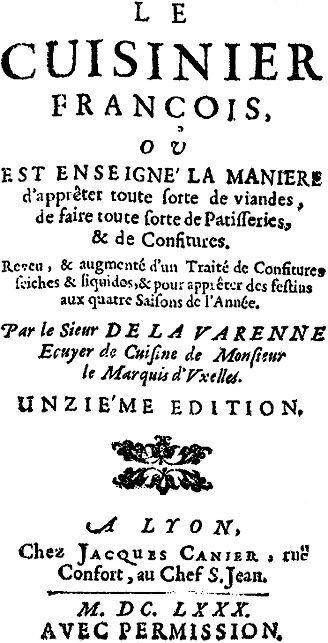 Strona tytułowa słynnej książki kucharskiej La Varenne, której nie byłoby bez Katarzyny Medycejskiej (źródło: domena publiczna).
