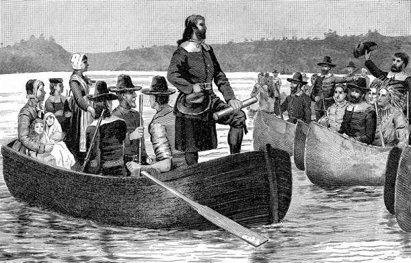 Purytanie byliby dumni z islandzkich kolonistów (powrót Rogera Williamsa z Anglii, drzeworyt na podstawie obrazu C.R. Granta, źródło: domena publiczna).