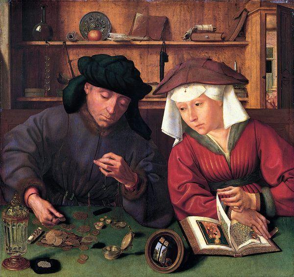 """Kobiety z Brugii działały nie tylko w rzemiośle, ale i w świecie finansjery. Obraz Quentina Metsysa zatytułowany """"Bankier z żoną"""" z 1514 roku."""
