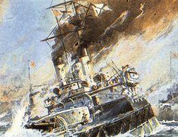 z17680146IER,Bitwa pod Cuszima obraz japonskiego malarza Tojo