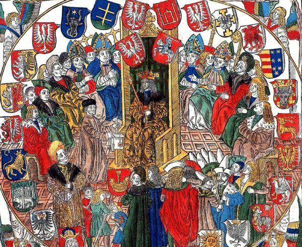 Aleksander w Rzeczpospolitej musiał borykać się ze sprzeciwem możnych wobec własnej małżonki... Król Aleksander w Senacie (obraz Jana Hallera, domena publiczna).
