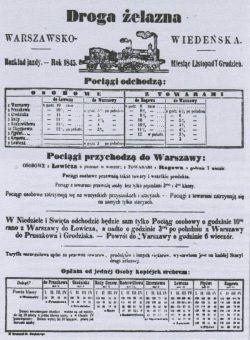 A tak wyglądał jeden z pierwszych rozkładów jazdy, pierwszej polskiej kolei! (1845)