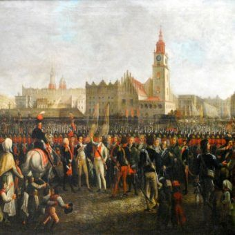 Jeszcze w 1794 roku krakowski ratusz miał się zupełnie dobrze... Kościuszko składał przed nim swoją przysięgę.