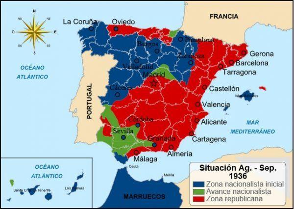 Wojna domowa w Hiszpanii wciąż była nierozstrzygnięta, a kraj podzielony. Sytuacja w kraju w 1936 roku (fot. Addicted04, lic. CC BY-SA 3.0).