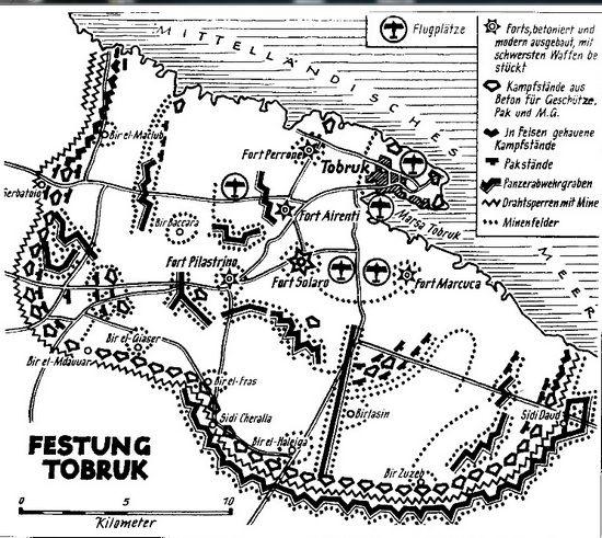 Twierdza Tobruk na niemieckim planie z okresu wojny.