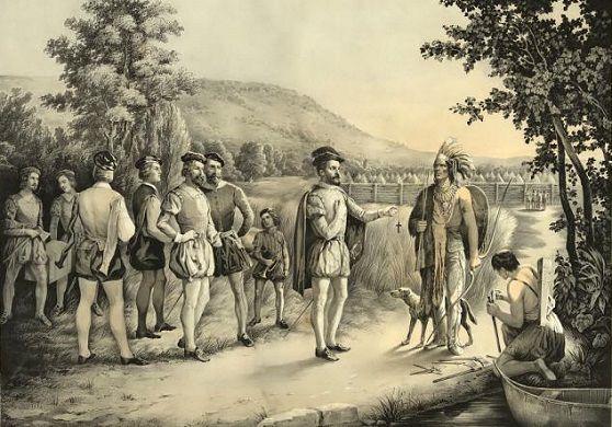 Francuski odkrywca Kanady Jacques Cartier napotyka pierwszych Indian… Chyba nie zrobił za dobrego pierwszego wrażenia.