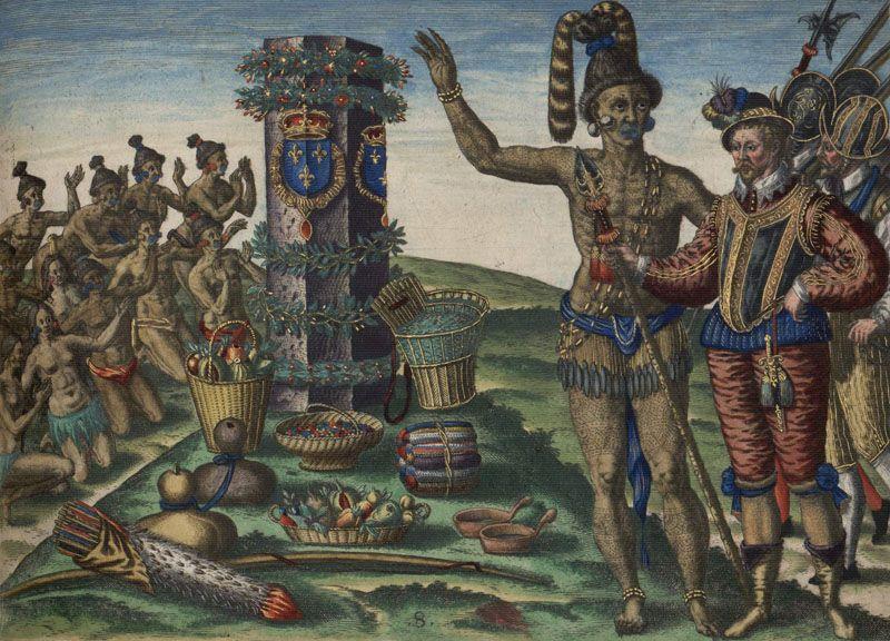 Wódz plemienia Timucuan wita francuskiego podróżnika René Goulaine'a de Laudonnière'a. Ciekawe czy i jego wzięto za barbarzyńcę?