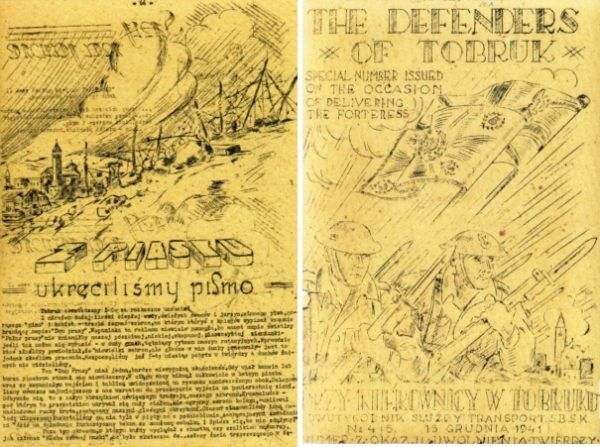 """Dwie strony z czasopisma """"Za kierownicą w Tobruku"""" (wszystkie fotografie pochodzą z albumu: Z. Wawer, Tobruk 1941, Bellona 2011)."""