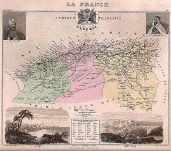 Muzułmanie na setki lat zapomnieli o krucjatach. Dopiero francuska kolonizacja Algierii zmieniła ten stan rzeczy. Na zdjęciu mapa Algierii francuskiej z lat 70. XIX w.