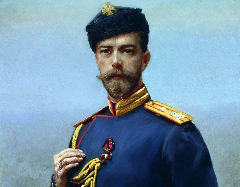 Car Mikołaj II zamiast pozować do tego typu portretów powinien był zdyscyplinować swoich oficerów (obraz Manizera z 1905 roku, domena publiczna).