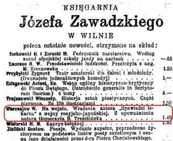 """W książce Weresajewa nie podano daty jej wydania. Natomiast w 1908 roku pewna wileńska księgarnia reklamowała jako """"nowość"""" jej polskie wydanie. Tak więc wspomnienia lekarza musiały się ukazać zaraz po wojnie rosyjsko-japońskiej (wycinek z """"Kurjera Wileńskiego"""")"""