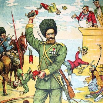 Rosyjski plakat z początku wojny rosyjsko-japońskiej. W rzeczywistości konflikt wcale nie potoczył się po myśli caratu...