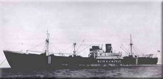 """Norweski motorowiec """"Elin K."""" (5214 BRT) był pierwszą z 21 ofiar U-Bootów, które zaatakowały konwoje SC-122 i HX-229"""