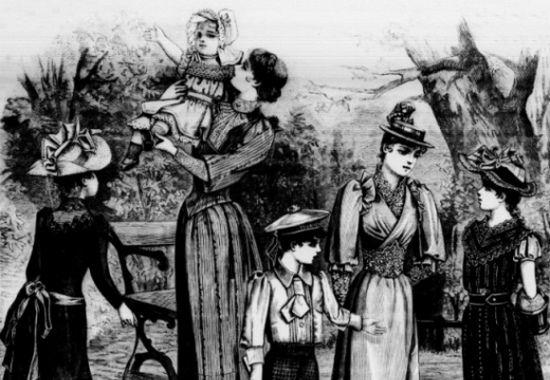 W XIX-wiecznej rodzinie każdy znał swoje miejsce, zachowywał się stosownie do wieku i według niego był ubrany (źródło: domena publiczna).