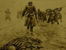 """Trasa większośći """"mareszy śmierci"""" prowadziła na zachód, ale w przypadku blisko siedmiu tysięcy więźniów jednej ze wschodniopruskich filii KL Stutthof wiodła w przeciwnym kierunku. Na ilustracji rysunek jednego z więźniów KL Stutthof M. Kuzniecowa."""