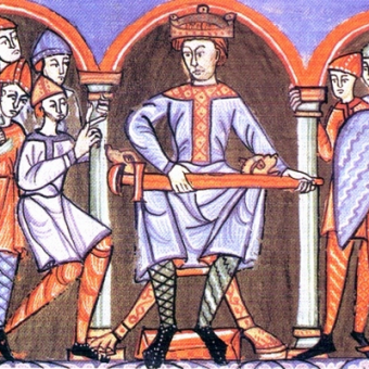 """Ilustracja z """"Ewangeliarza Płockiego"""", wykonanego na zlecenie Władysława Hermana."""