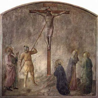 Fresk Jana z Fiesole, przedstawiający moment w którym Longinus przebija bok Chrystusa. Za chwilę setnik uzna boskość Jezusa i stanie się pierwszym chrześcijaninem