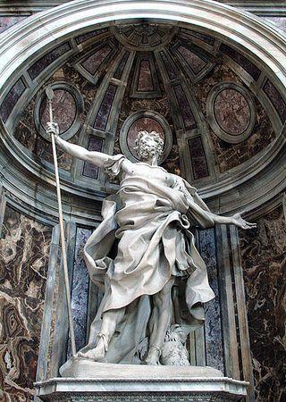 Święty Longinus dłuta Giovanniego Lorenzo Berniniego. Rzeźba z Bazyliki św. Piotra w Rzymie (for. Jean-Pol GRANDMONT; lic. CC ASA 3.0).