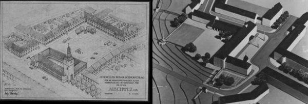 """Plany Stosberga: z lewej nowy """"aryjski"""" rynek; z prawej inny fragment makiety wielkiego Auschwitz."""