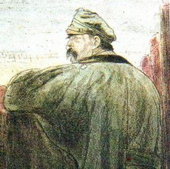 Komendant Józef Piłsudski w okopach pod Kostiuchnówką. Rysunek Leopolda Gottlieba.